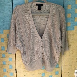 White House Black Market XL tan cardigan short sl